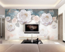3d wallpaper custom photo mural fashion white rose flower Modern home background decoration 3D behang beibehang