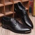 Новый стиль мужчины оксфорды Британский свадьба кожаные ботинки острым носом зашнуровать повседневная обувь мода черный мужская обувь Z073