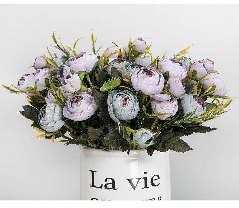 Bouquet Sposa Natale.9 Heads 1 Fascio Di Seta Tea Rose Sposa Bouquet Per La Casa Natale