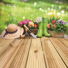 hot deal buy laeacco spring green flower garden tools polka dots wooden board baby portrait photography backdrops backgrounds photo studio