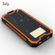 Zely Solar Travel Charger power bank backup Dual USB Power Bank Battery external Portable For all Cell phone mobile phone/tablet
