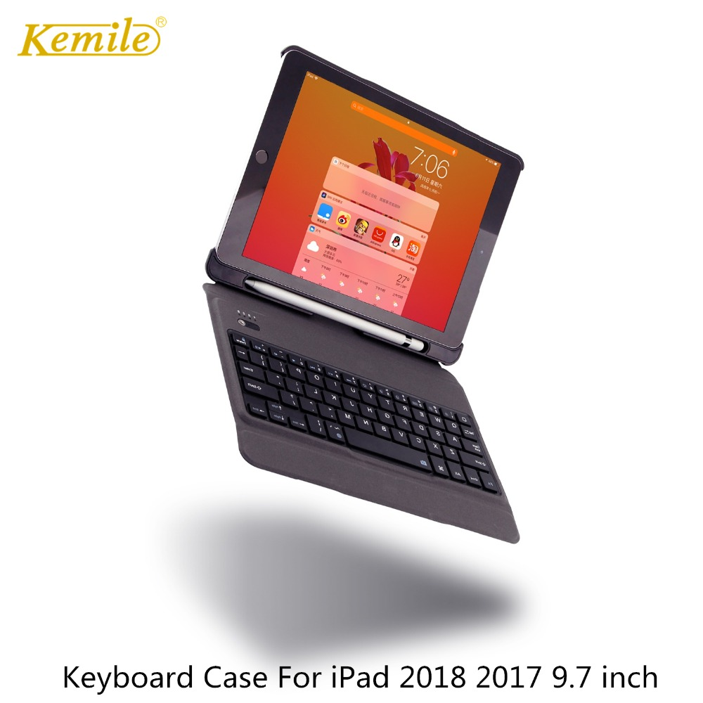 Case For iPad 6th 2018 9.7 inch Removable keyboard W Pencil Holder Stand Leather Cover For iPad 2017 9.7 Case Keypad A1893 A1954 removable bt keyboard case cover stand for lenovo k3 lynx 11 6