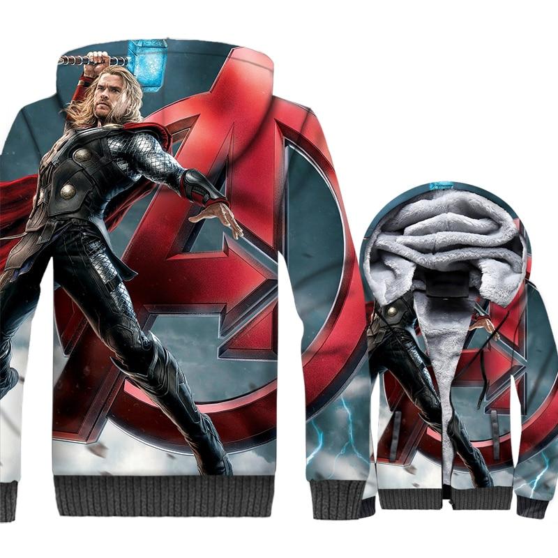 thicken wool liner brand clothes Super hero sportswear hoodies Thor Odinson 3D print jackets coats men 2019 winter sweatshirts