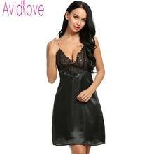 Avidlove Brand Women Nightdress Plus Size Sexy Lace Sleepwear Sexy Stain Nightgown Hot Sexy Lingerie Black Dress Sleep & Lounge