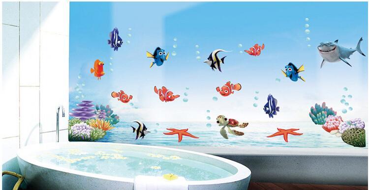 Nemo pesci del fumetto autoadesivo della parete per la doccia