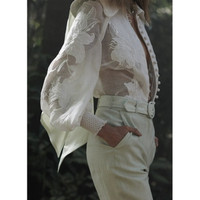 2019 spring vintage stand embroidery cotton&linen elegant blouse women silk blouses