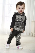 Fashion Geometric Velvet Baby Boy winter Warm Coat 2PC jacket pants