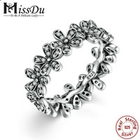 925 Sterling Silver Flowers Finger Rings Dazzling Daisy Meadow Stackable Ring, Clear CZ For Women Wedding Jewelry PA7122
