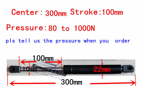 free shipping 300mm central distance,100mm stroke,80 to 1000N force pneumatic Auto Gas Spring, Lift Prop Gas Spring Damper