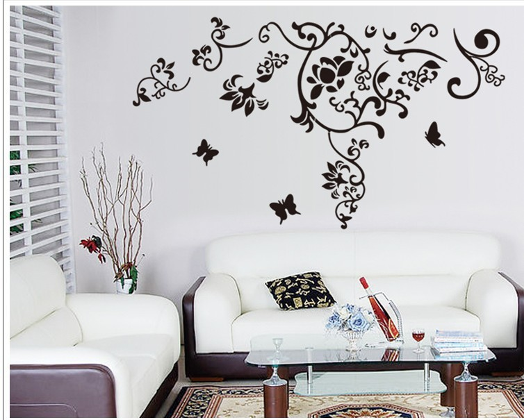 Black Wall Decals 145*92cm classical black flower vine home decoration wall decal