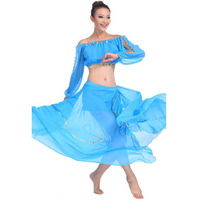 2015 Popular Sexy Belly Dance Practice Set For Women New Belly Dancing Costume Top And Skirt
