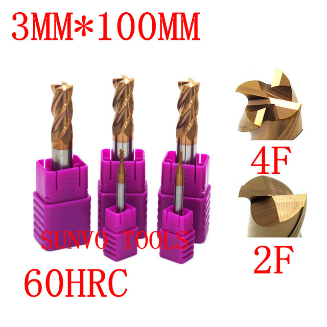 5PCS 3MMx100MM 3MM HRC45 HRC50 HRC55 HRC60 HRC65 Four Flutes Solid Carbide End Mill ALTiN Coat, CNC Milling Cutter Bits for Meta
