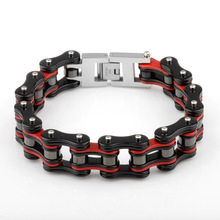 New Brand Fashion Red Black Stainless Steel Bracelet for Men Bike Bicycle Chain Link Bracelets Bangles Biker Sports Jewellery