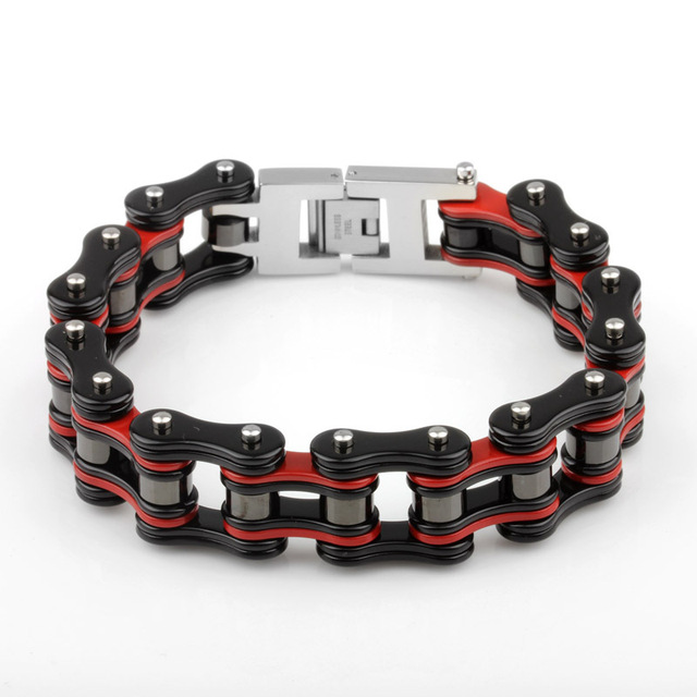 New Brand Fashion Red Black Stainless Steel Bracelet for Men Bike Bicycle Chain Link Bracelets Bangles Biker Sports Jewellery