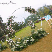 Baby party wedding props decor wrought iron round ring arch backdrop round arch lawn silk artificial flower row stand wall shelf