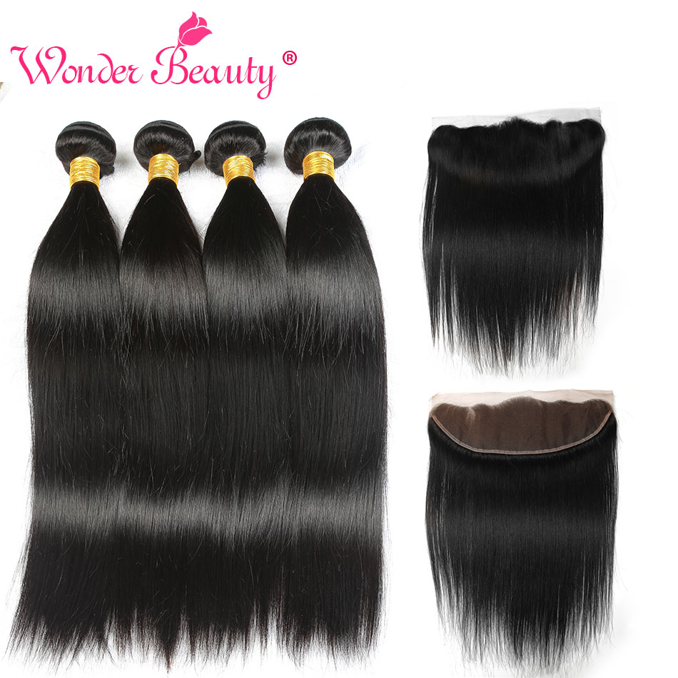 Wonder Beauty Brazilian Straight Hair Ear To Ear 13x4 Lace Front Closure With Bundle Human Hair
