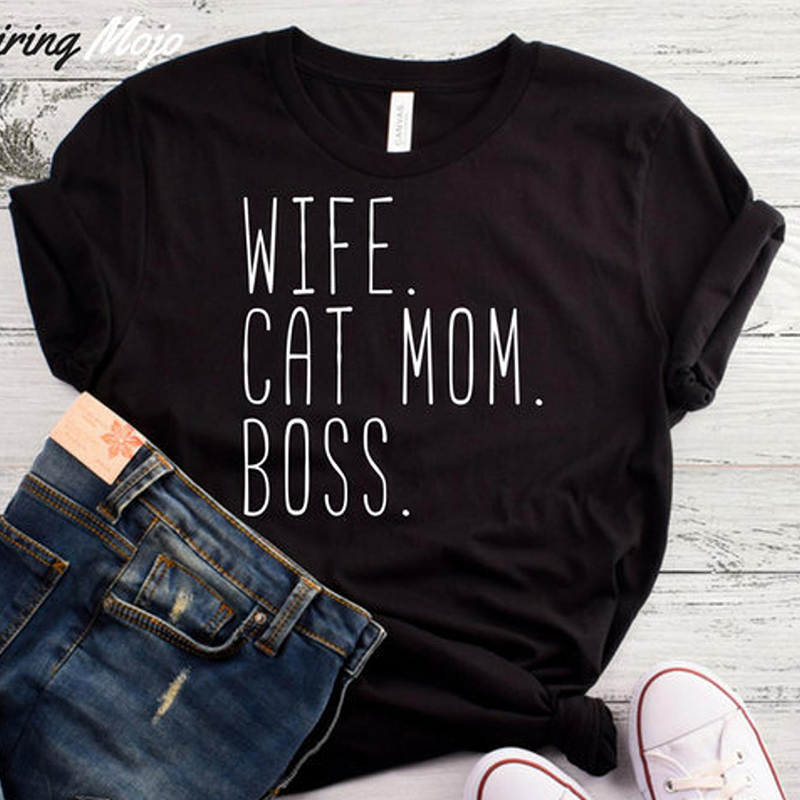 aac9eea59 Wife Cat Mom Boss Funny T Shirt Women Causal Mom Life Graphic Tee Summer  Fashion Cottton
