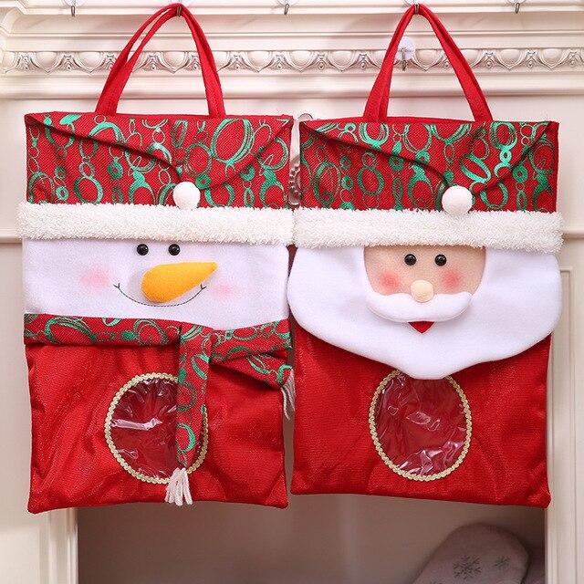 1pcs creative santa claus snowman christmas large gift bags of handmade fashion christmas gift bags home - Large Christmas Gift Bags