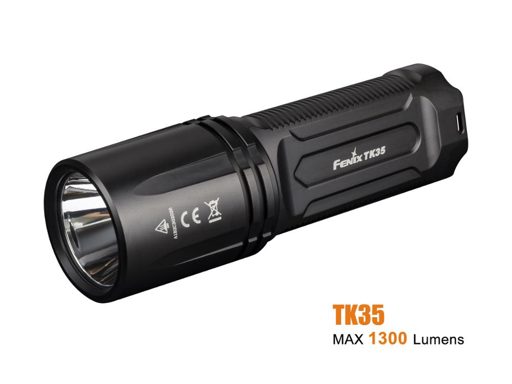New Arrival Fenix TK35 2018 CREE XHP35 HI LED 1300 Lumens Rechargeable Portable Flashlight with Far