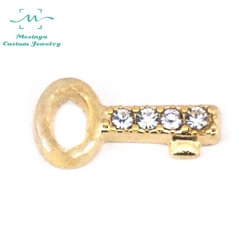 10 pcs Gold Color Crystal Accent Key floating charms for glass locket FC1412.Min amount $15 per order mixed items