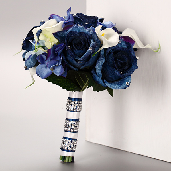 Real Touch Artificial Bridal Wedding Bouquet Navy Blue New Vintage ...