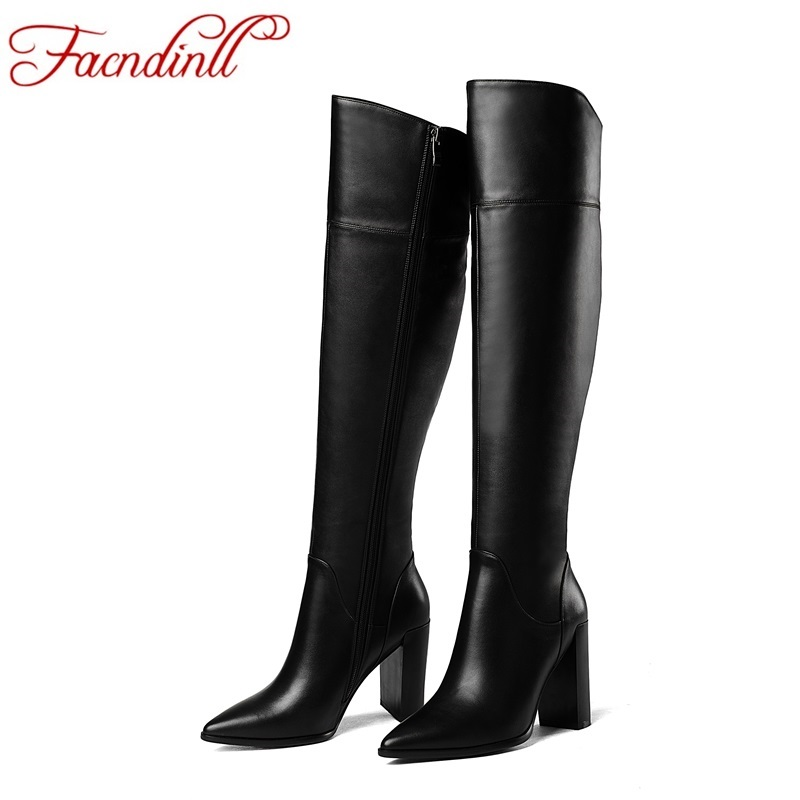 FACNDINLL new genuine leather women over the knee high boots high heel;s pointed toe zipper shoes woman riding boots black beige fido