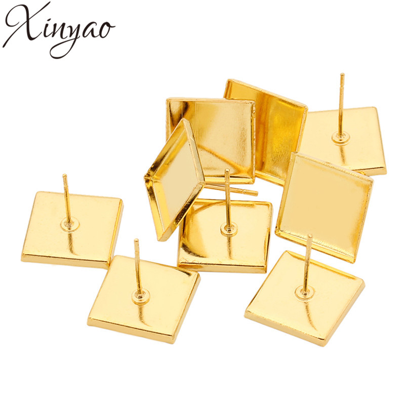50pcs Gold Color Copper Inner Size 12mm Square Stud Earring Settings Blank Earring Base For Cabochon Cameo Tray Bezel Pad K0767