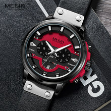 Megir Men's Watches 2019 New Army Sport Chronograph Quartz Watch Man Leather Strap Relogios Masculino Clock Top Brand 2080 Red цена и фото