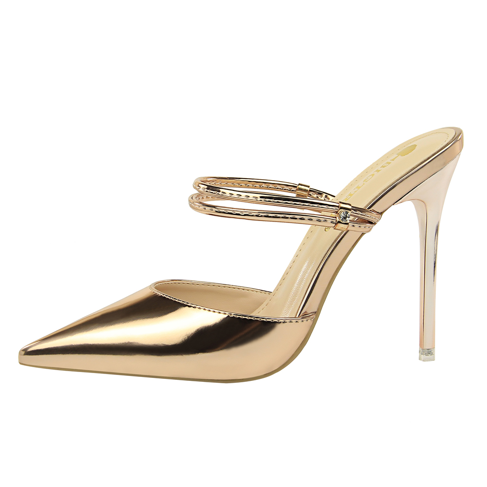 40ce6494af Γυναικεία παπούτσια BIGTREE 3 Way Wear Women Metallic High Heel Pointy Toe  Mule Slides Stiletto Slingback Pumps Dress Glossy Leather Shoes Champange