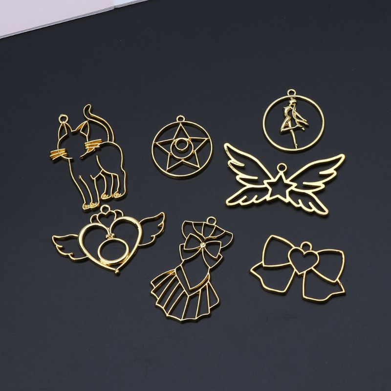 7Pcs Open Bezel Charm Blank Frame Pendant For UV Resin Crafts Jewelry Making