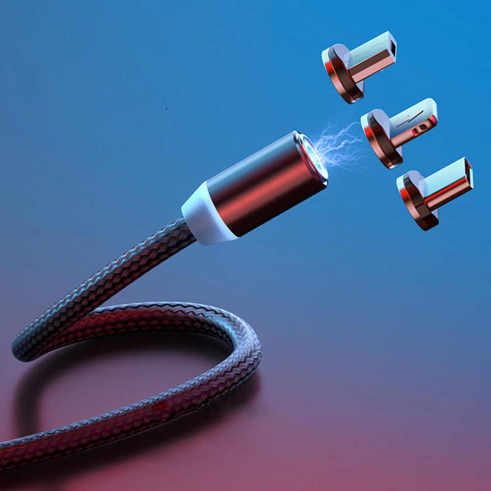 ĐÈN LED Cáp Từ Cho Chiếu Sáng Micro USB Loại C Dây Cáp Điện Thoại Dành Cho iPhone X XR XS Max 1 m 2A sạc nhanh Nam Châm Sạc