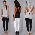 Женская мода Топы С Капюшоном Назад Крест Полые Уличной одежды Без Рукавов Жилет для женщин PP800E
