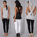 Fashion Women Tank Tops Hooded Back Cross Hollow Street wear Sleeveless Vest for women PP800E