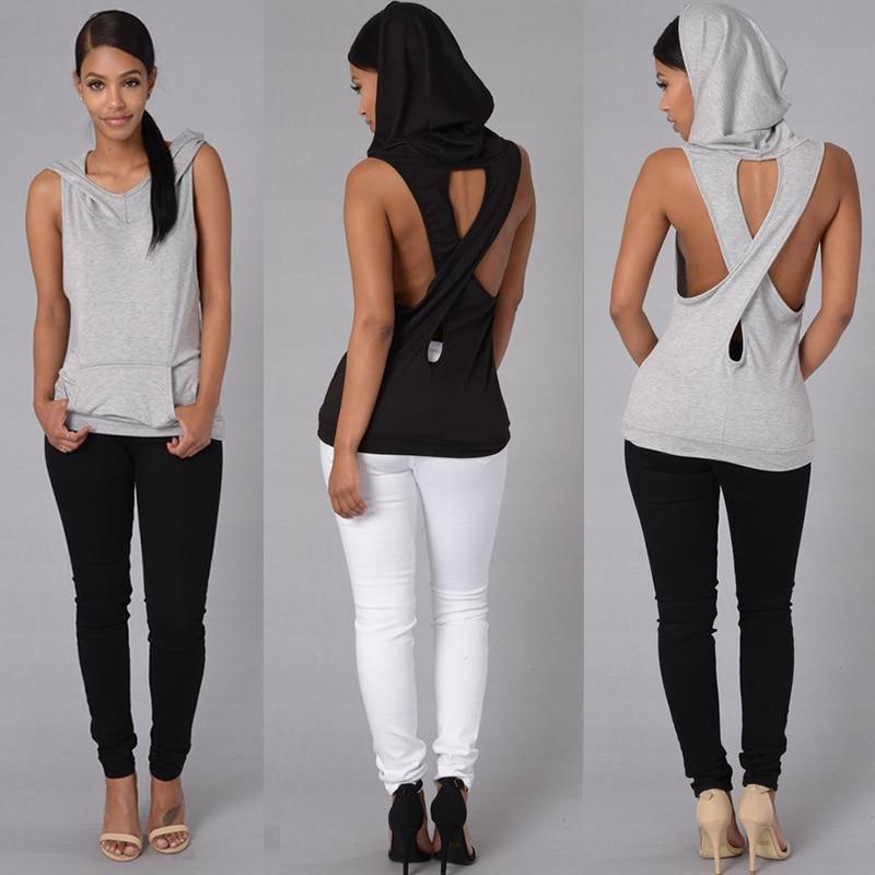 ჱModa mujeres Camisetas de tirantes con capucha trasera Cruz hueco ...