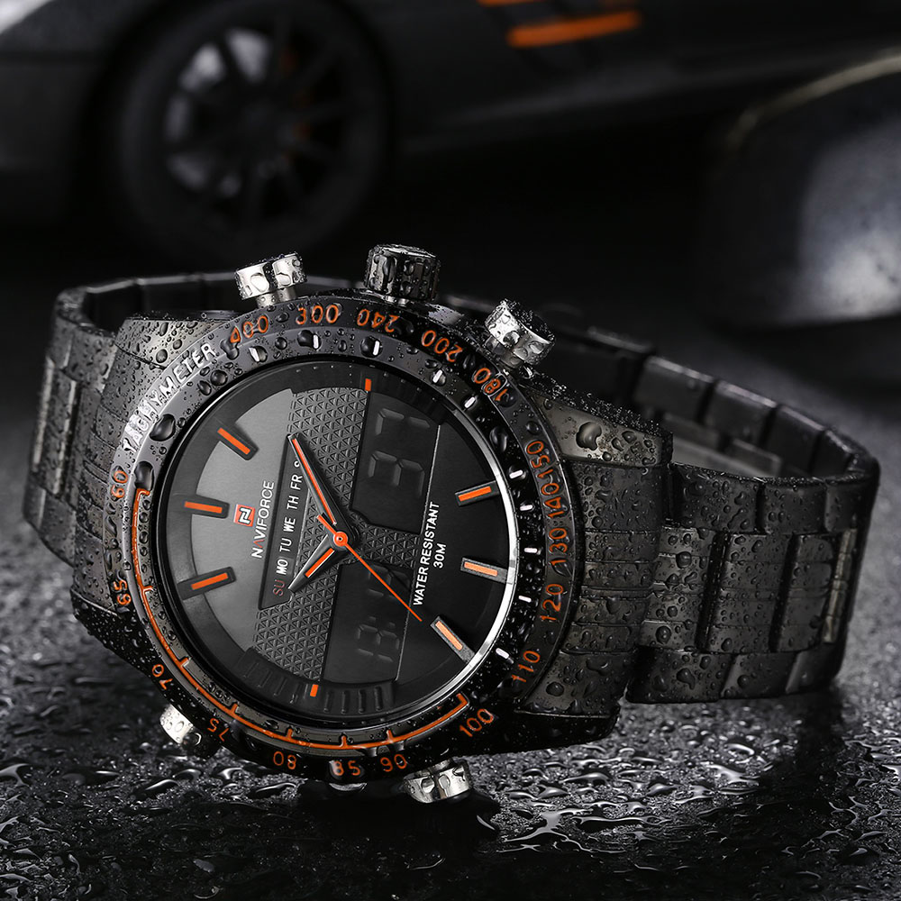 92437cd86fe NAVIFORCE 9024 Men Watches Luxury Brand Full Steel Quartz Clock Digital LED  Army Military Sport Business Watch relogio masculino-in Dual Display  Watches ...