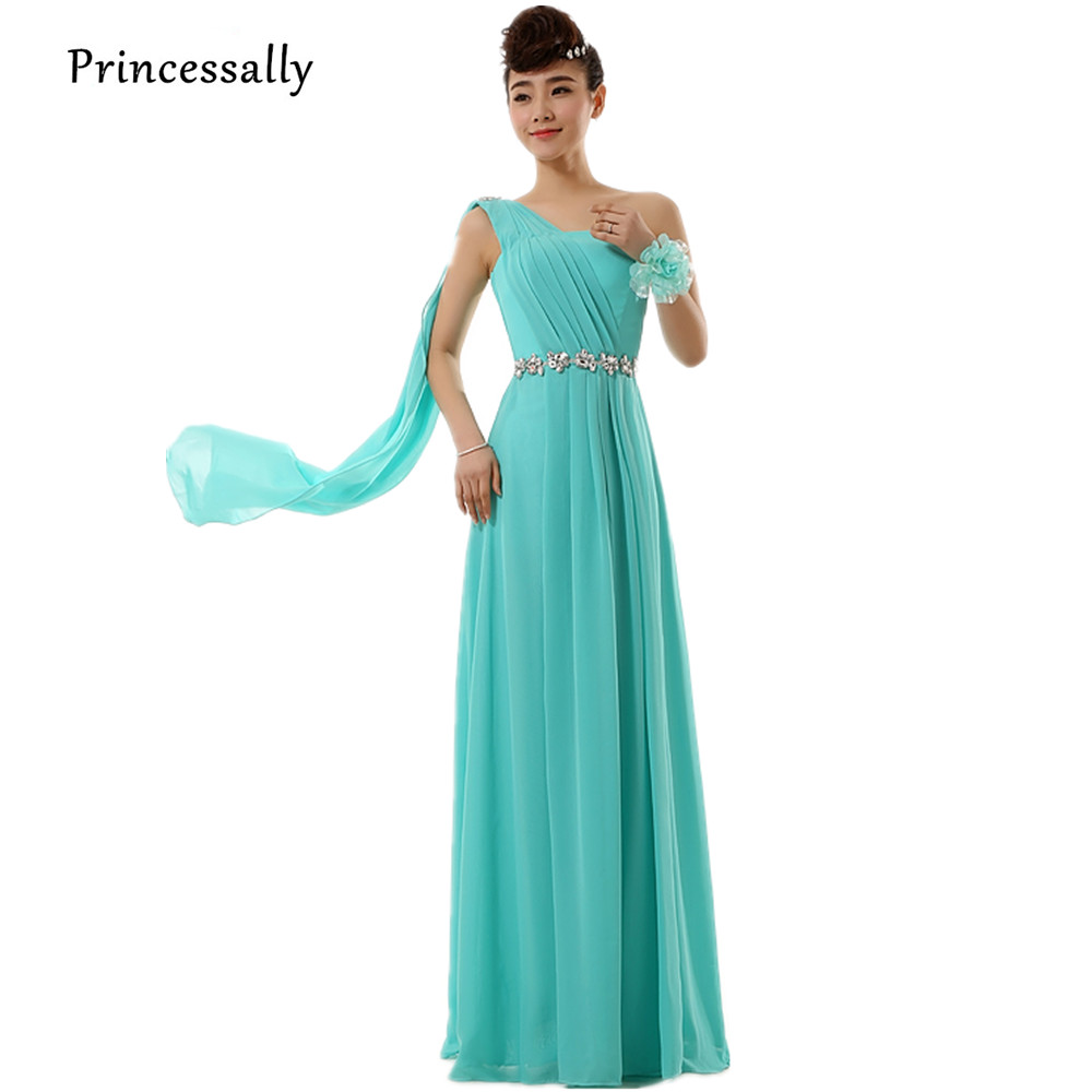 Compare prices on turquoise bridesmaid dresses online shopping robe de soriee turquoise bridesmaid dress long chiffon one shoulder beading ribbons elegant bride wedding party ombrellifo Image collections