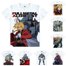 Coolprint Anime chemise Fullmetal alchimiste de l'acier T-Shirts multi-style manches courtes Edward Elric Alphonse Cosplay motivation chemises(China)