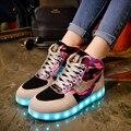 2016 de Invierno Flock Zapatos del Top del Alto de Las Señoras Zapatos Luminosos de Luz Led Barato Camuflaje Brillante Chaussure Masculina Ventas