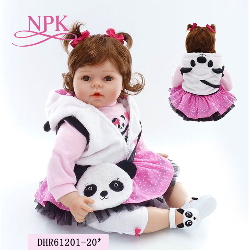 NPK 20 girl doll reborn silicone vinyl children play house toys bebe gift boneca reborn silicone