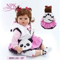 NPK 20 girl doll reborn silicone vinyl children play house toys bebe gift boneca reborn silicone reborn baby dolls
