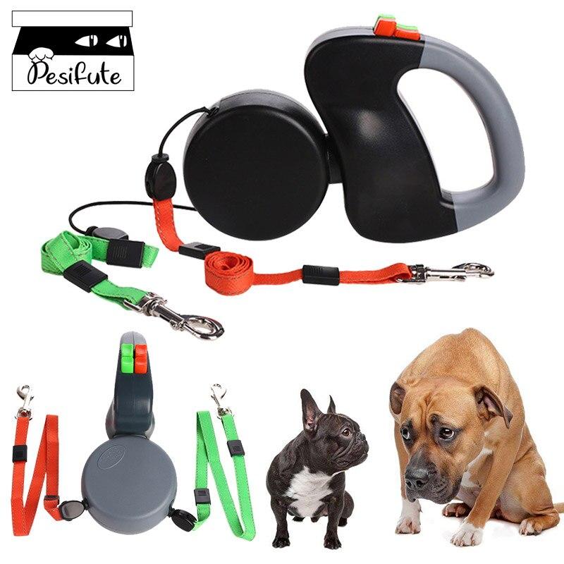 Laisse de chien rétractable Double laisses libération rapide laisse en Nylon réfléchissante Flexible automatique pour chiens chats formation marche 3 M