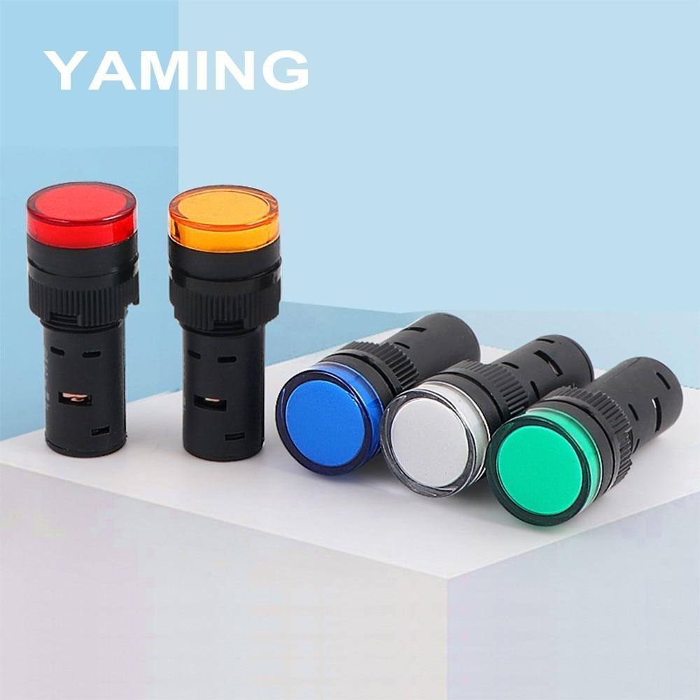 16mm Power Supply Indicator Light AD16-16C Led Signal 24V 220V 380V Signal Pilot Lamp Red Yellow Green Blue White