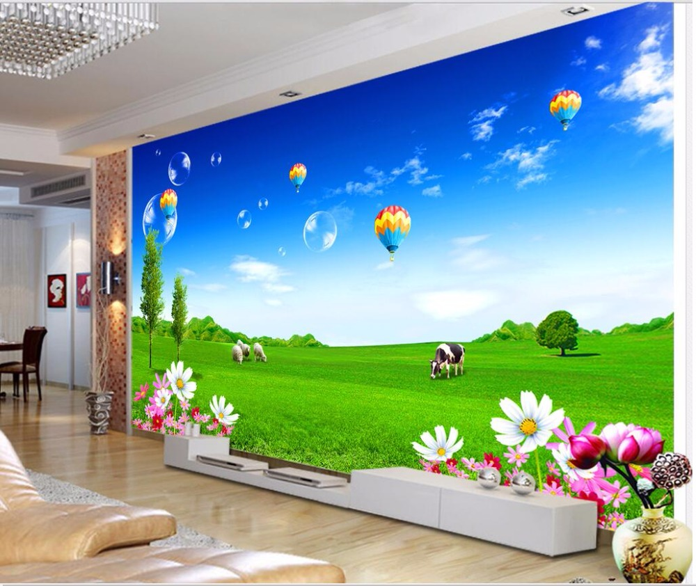 Custom mural photo 3d wallpaper Cattle and sheep on the beautiful grassland painting 3d wall murals wallpaper for walls 3 d custom baby wallpaper snow white and the seven dwarfs bedroom for the children s room mural backdrop stereoscopic 3d