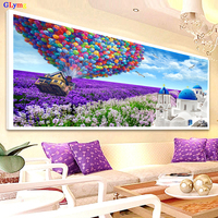 5D Diy Diamond Painting Cross Stitch Purple Hot Air Balloon Diamond Embroidery White Castle Lavender Drill