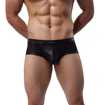 e4e316a654dac Нижнее белье мужские боксеры бренд мода 2019 черная кожа Cueca боксеры шорты  дышащая сетка микро скольжение Homme трусы