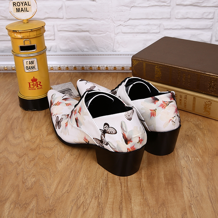 Homme Elegante Mocassin Couro Salto Homens De Alto Masculino Dos Impressão Clássico Toe Up Oxford Sapatos Genuíno E Lace Branco Apontou 57TUwU