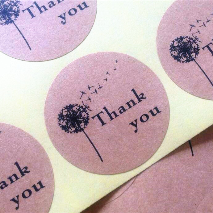 100pieces Dandelion Thank you Self Adhesive Kraft Baking Seal Sticker Gift Label Round Labels FOR DIY Paper Bag домкрат kraft кт 800026