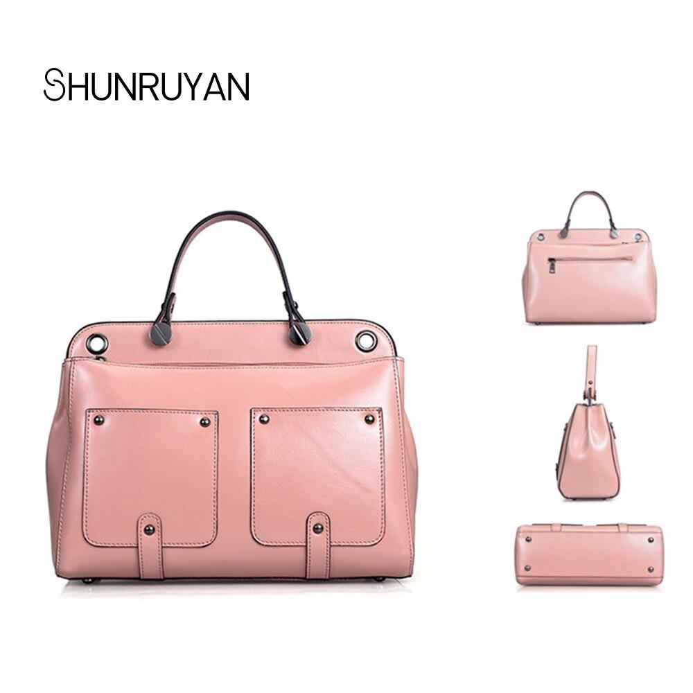 Shunruyan Hign Femmes Rose pourpre Cuir Totes Main Designer Messenger Pink Dames Marque Véritable Chaude En rose Qualité Vente Red Sacs Luxe À De rose Sac rp7rRH