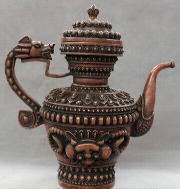 """007944 10 """"eleganten Chinesischen Roten Bronze Buddhismus Drache Kopf Statue Lion Teekanne Wein Topf 100% Hochwertige Materialien"""