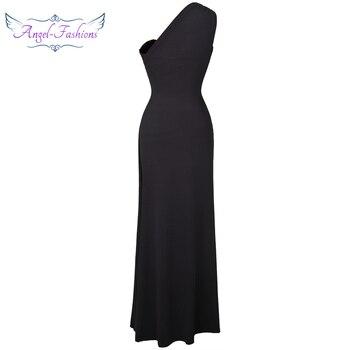 Vestidos largos de noche de graduación formales con cuentas de Ángel a la moda, vestido negro 027